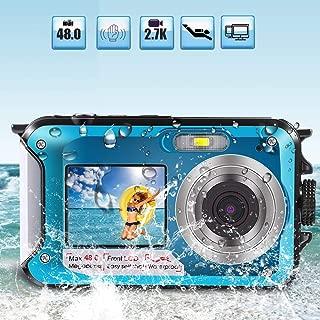 Underwater Digital Camera 2.7K 48MP Waterproof Camera for Snorkeling Water Photography Camera Selfie Digital Cam with Recorder 10 Ft Underwater Dive Reef Cam Dual Screen System