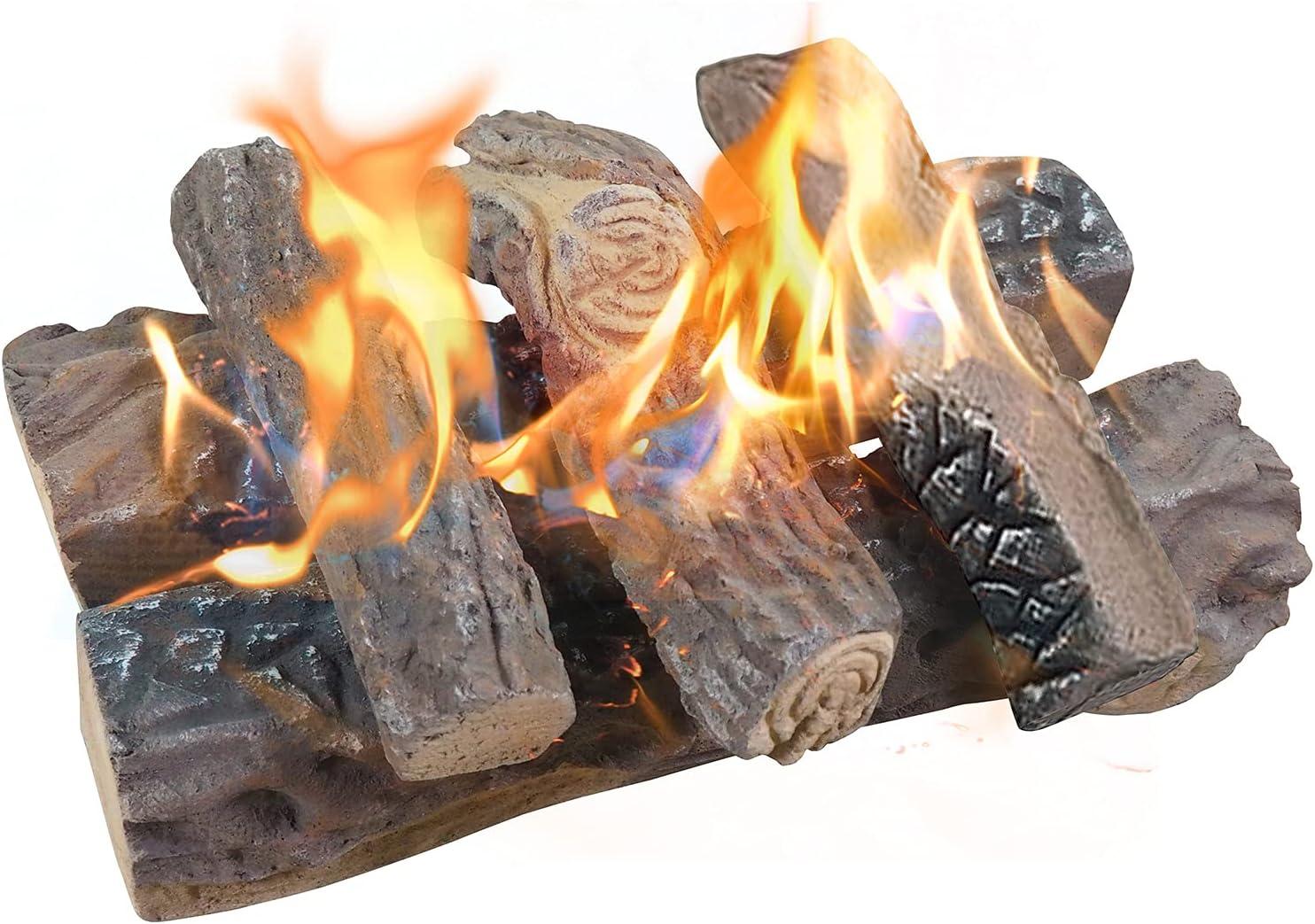 Buy ATR ART TO REAL Large Gas Fireplace Logs, Set of 20 Ceramic ...