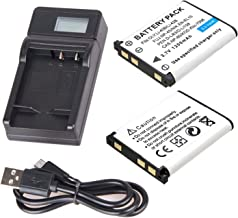 Battery 2 Pack and LCD USB Battery Charger for Fujifilm FinePix J12, J15, J15fd, J25, J26, J27, J28, J29, J32, J35, J37, J38, J110W, J150W, J210, J250 Digital Camera