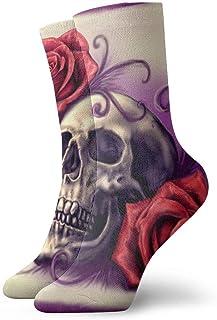 yting, Calavera con rosa roja Calcetines cortos transpirables Calcetines clásicos de algodón de 30 cm para hombres Mujeres Yoga Senderismo Ciclismo