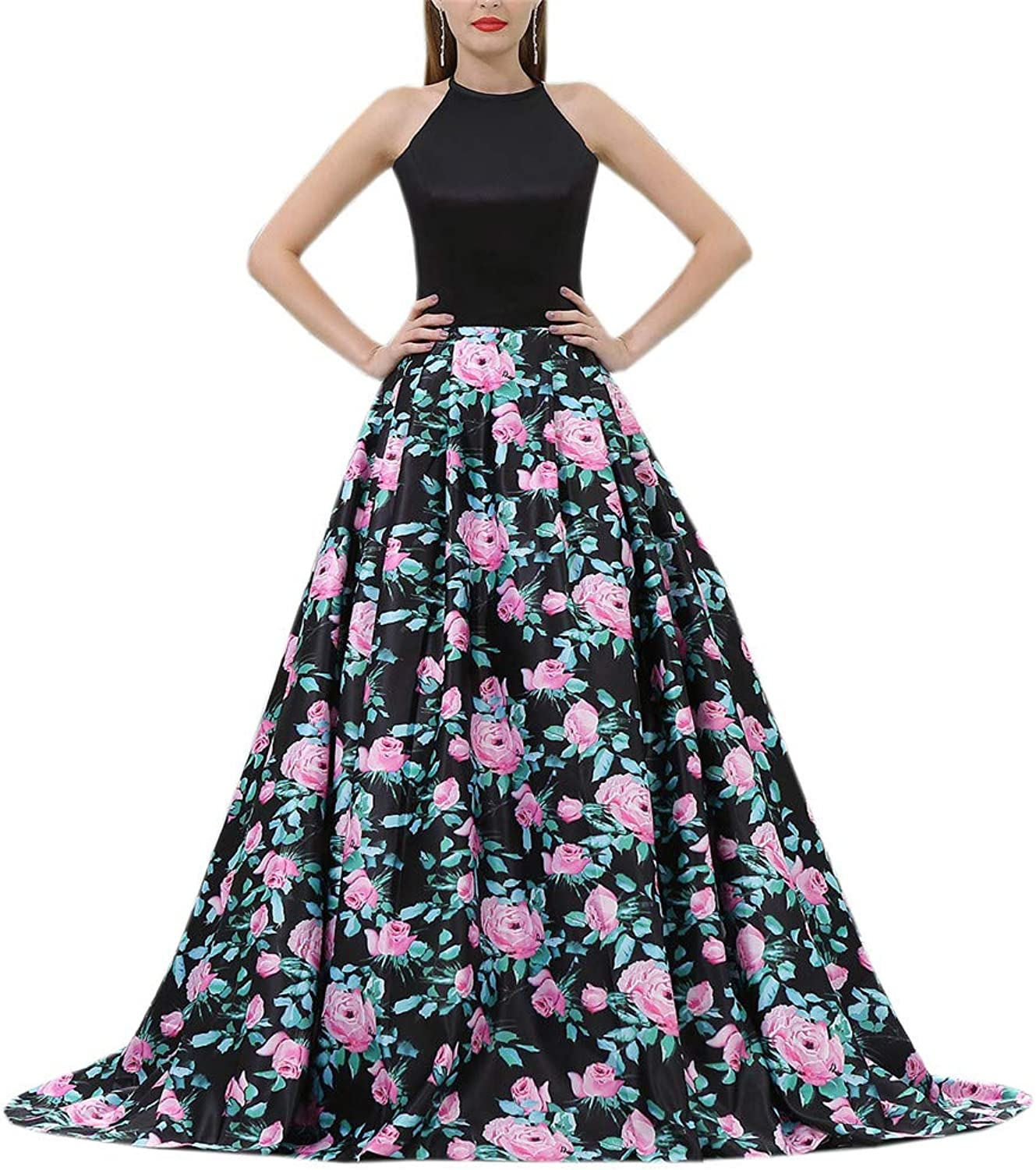 Datangep Sexy Women's Two Piece Prom Dress Lace Beaded Formal Evening Gown with Pockets