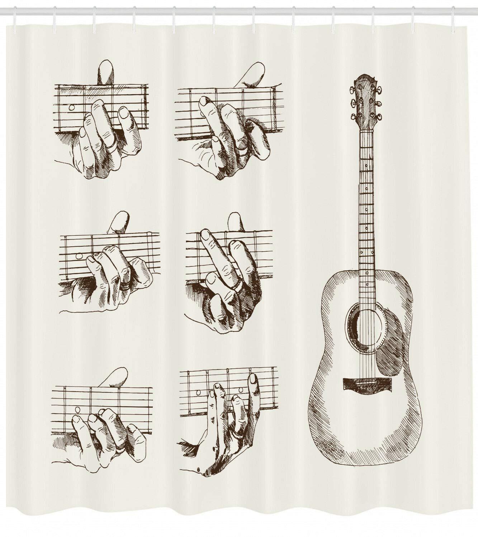 hdrjdrt Guitarra Sketch Acordes Flamenco Cortina de Ducha Impermeable Decorativa Arte protección del Medio Ambiente 180x180cm: Amazon.es: Hogar