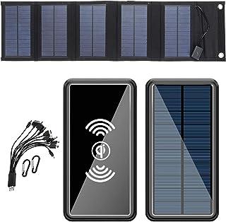 Solar Portable Charger, 50000mAh Solar Power Bank 5 vikbara solpaneler Solar laddare med 10-i-1-kablar och 6 utgångar & 2...