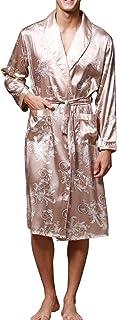 962ee2a221 Sidiou Group Vestaglia Kimono Uomo Abito Kimono Pigiama Vestaglia Raso  Manica Lunga Camicie da Notte Accappatoio
