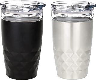 Vastigo 12oz Double-Walled Vacuum Insulated Stainless Steel Outside Borosilicate Glass Inside Diamond Tumbler Thumb Slide ...