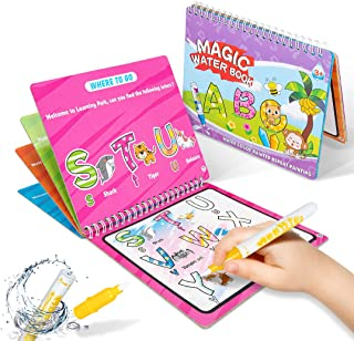 HahaGift 2 Pack Magic Water Coloring & Doodle Book, Reusable On The Go Activity, All Fun & No Mess (Dinosaur+Animal/Alphab...