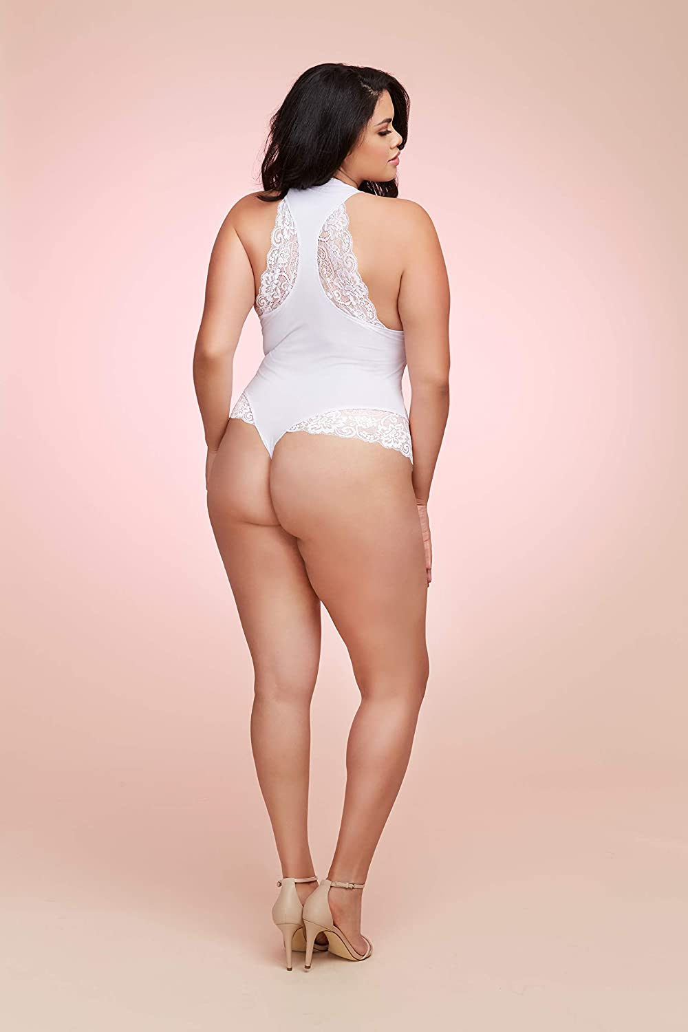 Dreamgirl Womens Plus Size Soft Spandex Jersey Wifey Bodysuit with Thong Back