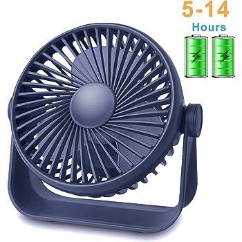 TriPole Desk Fan Small Table Fan Rechargeable Battery Operated Mini Fan 360 Degree Rotation 5.1 Inch Portable Fan 4 Speed USB Personal Fan for Home Office