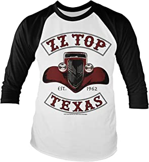 ZZ-Top Officially Licensed Texas 1962 Baseball Long Sleeve T-Shirt (White/Black)