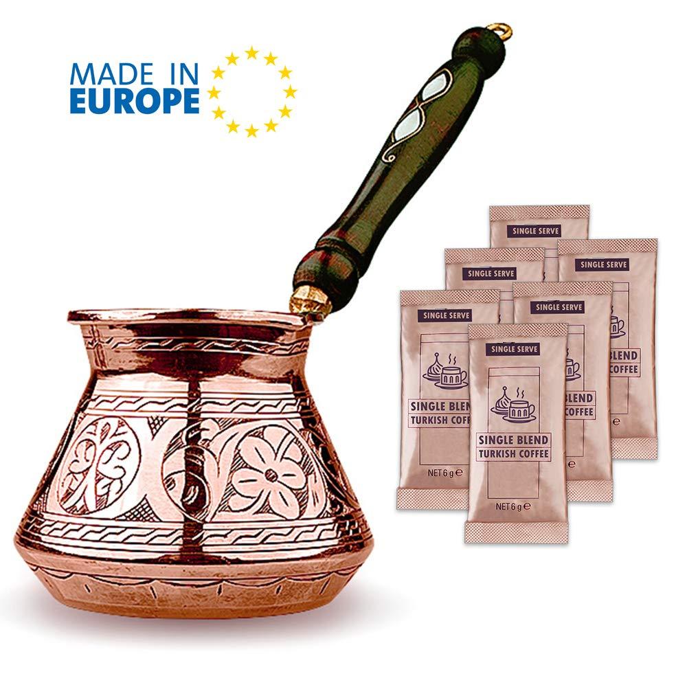 Cafetera turca, cafetera arábiga griega, parte superior de la estufa más gruesa de cobre martillado y grabado café Cezve con mango de madera premium (20 fl oz): Amazon.es: Hogar