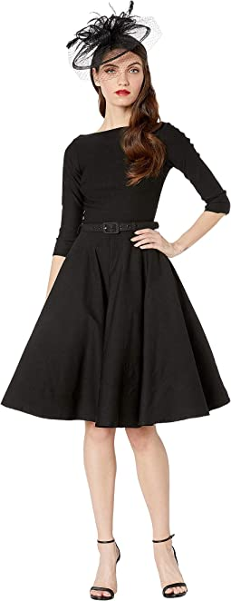 1950s Style Stretch Sleeved Devon Swing Dress