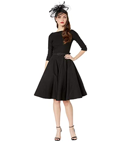 Unique Vintage 1950s Style Stretch Sleeved Devon Swing Dress (Black) Women