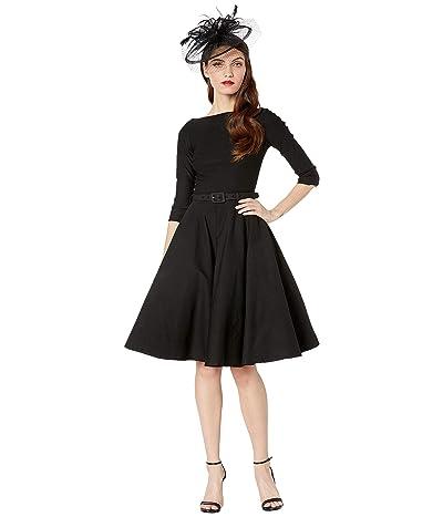 Unique Vintage 1950s Style Stretch Sleeved Devon Swing Dress (Black) Women