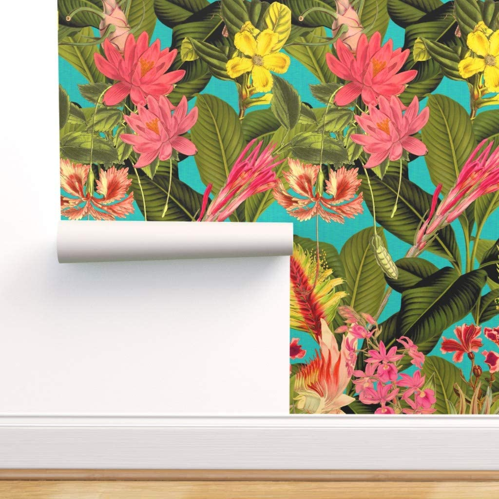 Spoonflower Peel and sold out Stick Wallpaper wholesale Tropical Removable Floral
