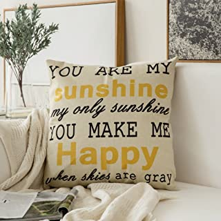 MIULEE You are My Sunshine&You Make Me Happy Cotton Linen Decorative Throw Pillow Case Cushion Cover Pillowcase for Sofa Bed Car 18 x 18 Inch 45 x 45 cm
