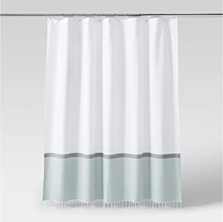 Woven Shower Curtain Pale Green/White/Grey - Project 62 72x 72 100% Cotton