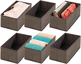 mDesign Soft Fabric Dresser Drawer and Closet Storage Organizer for Toddler/Kids Bedroom, Nursery, Playroom - Rectangular Bin with Herringbone Print - 6 Pack - Espresso Brown