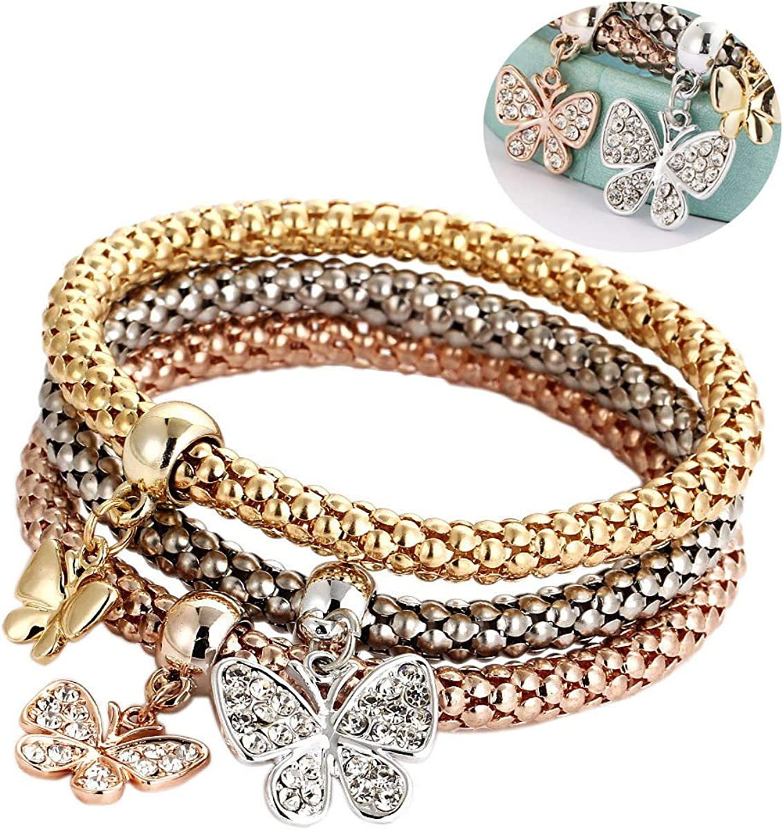 Amazon.com: Koolee Women's Bracelet, 3 Pcs Fashion Rhinestone Bangle Gold  Silver Rose Gold Charm Butterfly Bracelets Bangles Jewelry for Women Girl:  Jewelry