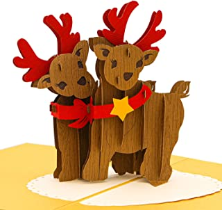Paper Love Pop Up Christmas Reindeer Card, Handmade 3D Popup Greeting Cards, for Christmas, Holiday, Xmas Gift