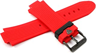 Swiss Legend 28MM Red Silicone Watch Strap & Black Stainless Buckle fits 49mm Legato Cirque Watch