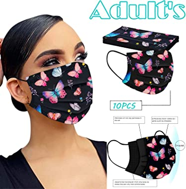 JYS Apparel The 3 Ply Non-Woven Disposable Face_Mask Breathable Material Cute Pattern Face_Covering for Adult Unisex (Black-C