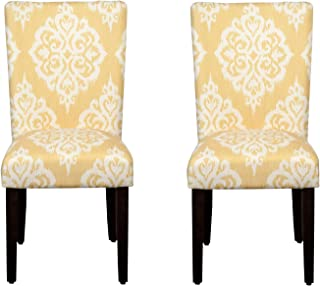 HomePop Parsons Classic Upholstered Accent Dining Chair, Set of 2, Yellow Damask