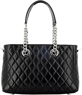Borsa Donna A Spalla In Vera Pelle Colore Nero - Pelletteria Toscana Made In Italy - Borsa Donna