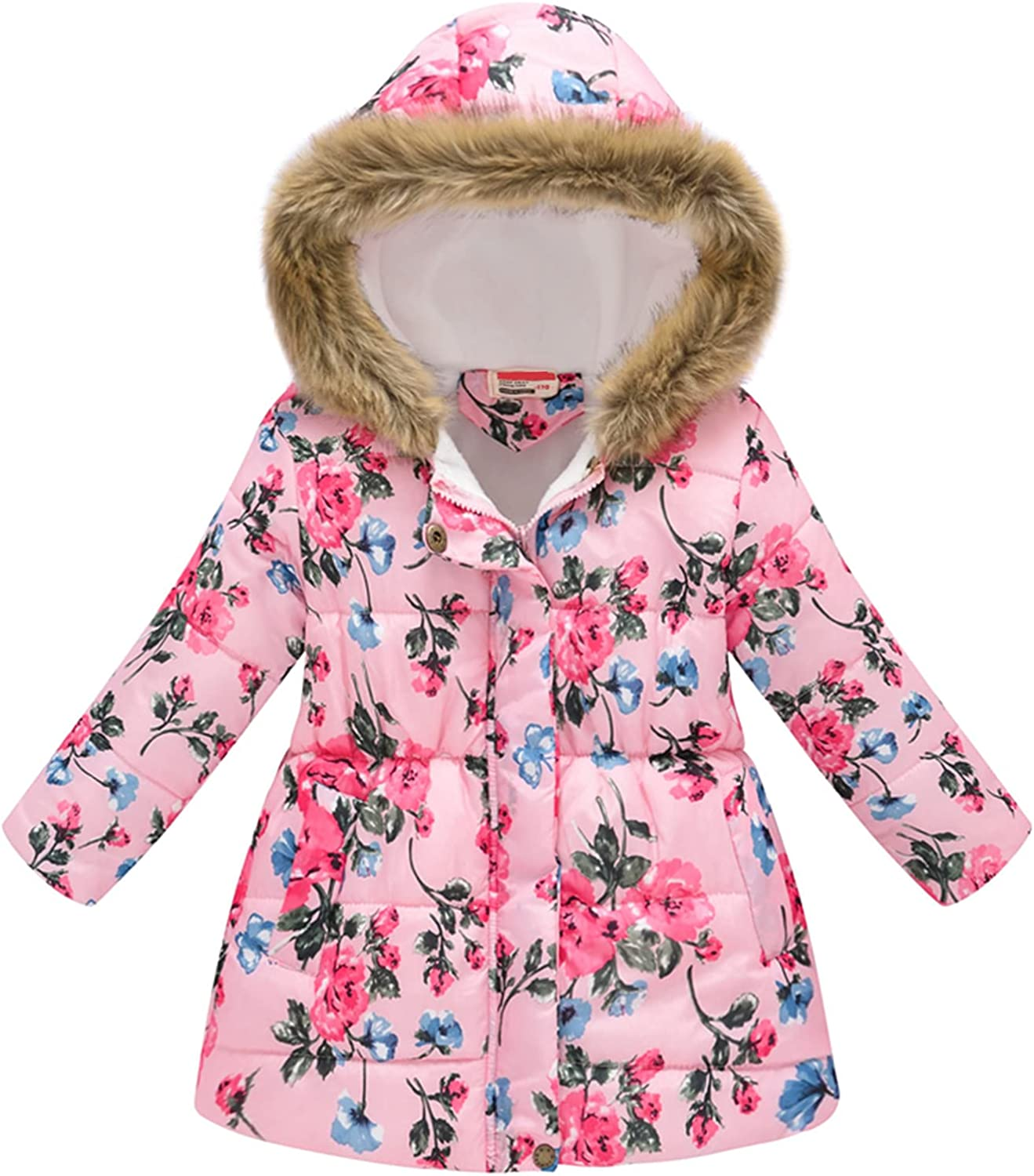 Baby Girl's Winter Down Year-end gift Coat Parka SALENEW very popular! Hooded Printed Outwear Flower