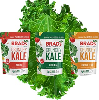 Brad's Plant Based Organic Crunchy Kale, Variety Pack, (Nacho, Cheeze It Up, Original with Probiotics), 3 Bags, 6 Servings...