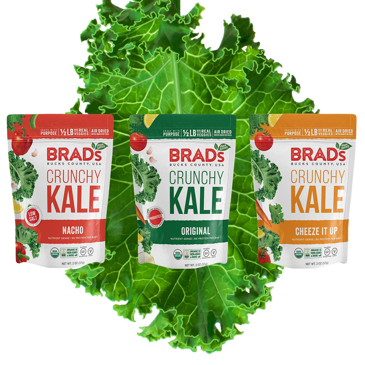 Brad's Deluxe Plant Based Organic Crunchy Variety Pack Kale Nacho C Max 43% OFF