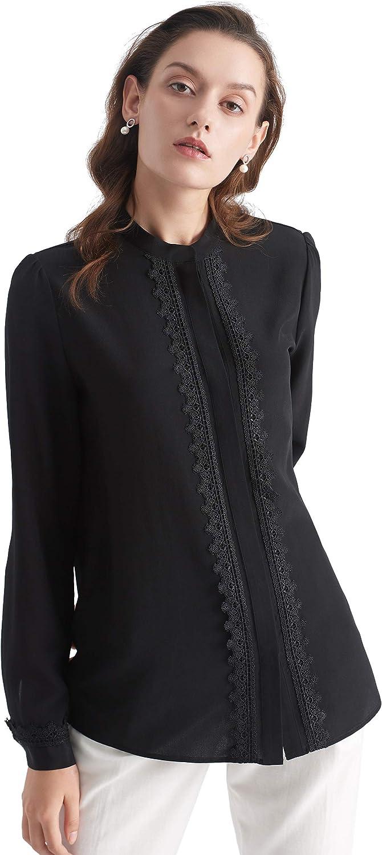 LilySilk Women's Silk Blouse Long Sleeves Stand Collar LaceTrim 18 MM Silk Top