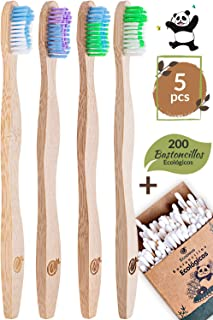 Cepillo Dientes Bambu con Cerdas Suaves by Ecocious, Con 200 Bastoncillos Ecologicos, Cepillos Dientes Bambu Sin Plastico