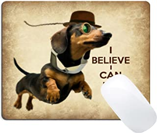 Wknoon Custom Mouse Pad Funny Sausage Dog Cute Flying Dachshund with Glasses Design Art, Joking Quotes and Sayings I Believe I Can Fly Mousepad Mat