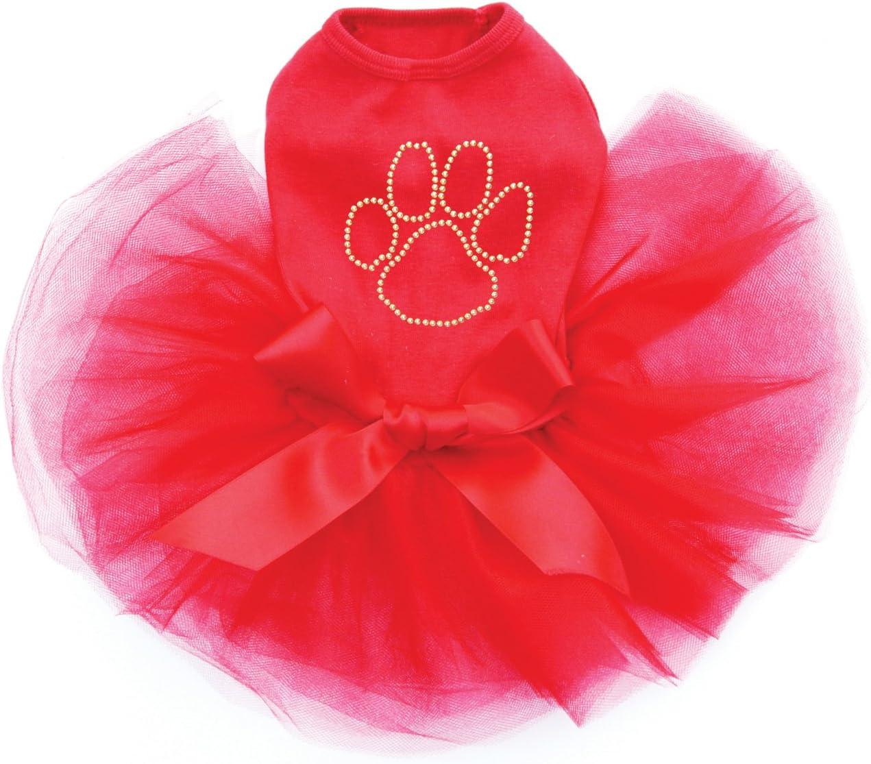 Max 55% OFF Paw- Gold Nailheads - Bling Rhinestone Dress Denver Mall Red XS Dog Tutu