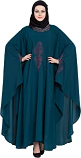 MRC Women's Crepe Solid Abaya with Hijab (Midnight Blue, X-Large)