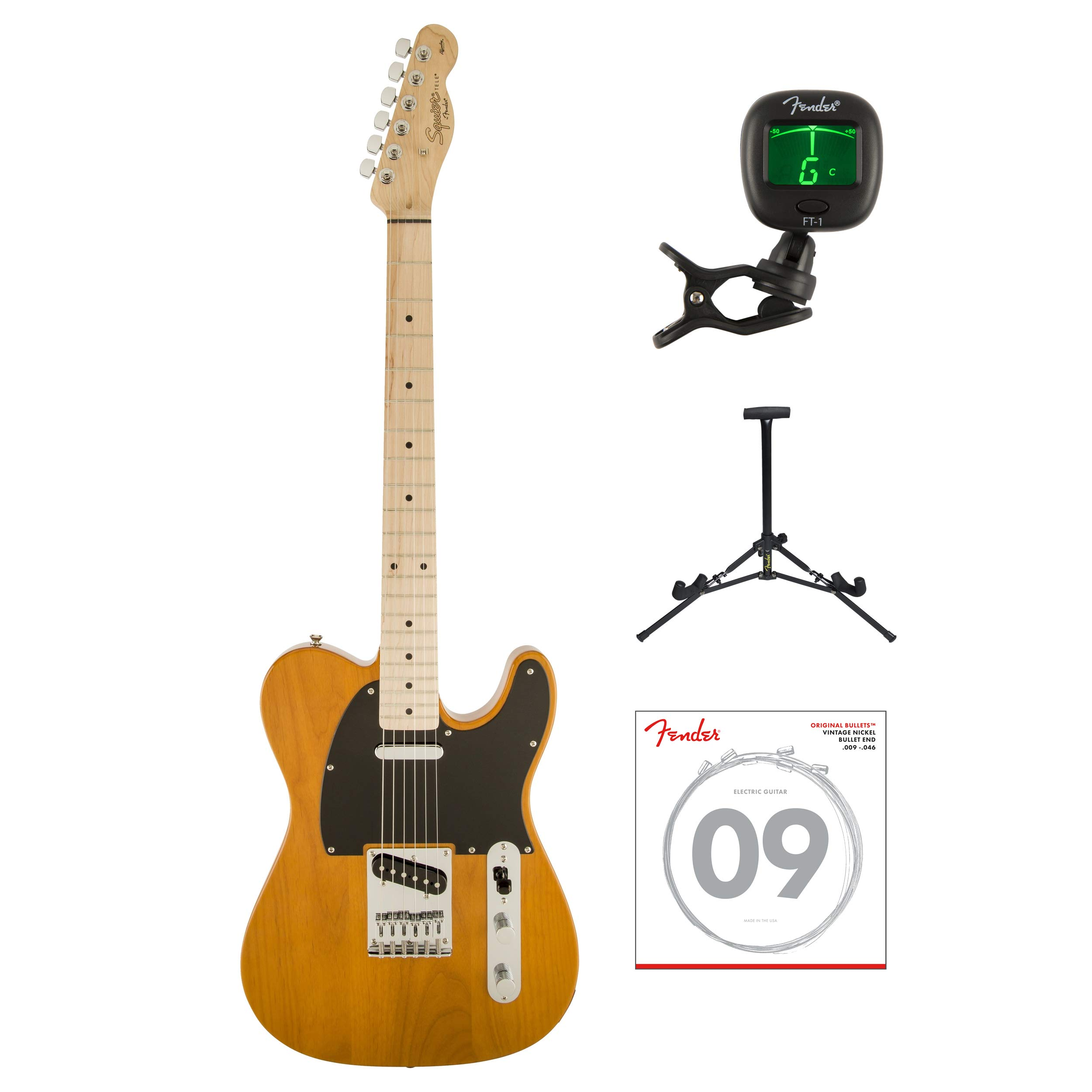 Cheap Fender Squier Affinity Series Telecaster Electric Guitar with Tuner Strings & Stand (Butterscotch Blonde) Black Friday & Cyber Monday 2019