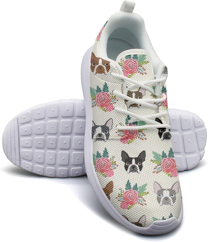 ERSER Boston Terrier Dog Flowers Neutral Running shoes Women