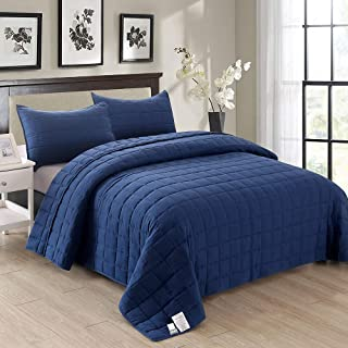 EMME 3-Piece Reversible Quilt Set Full/Queen (90''x90'') Bedspread for All Season Enzyme Washed Coverlet Set Hypoallergenic Comforter Bedding Cover Solid Square Pattern Lightweight Super Soft (Navy)
