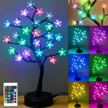 Pooqla RGB Cherry Blossom Tree Light with Remote Control 16 Color-Changing LED Artificial Flower Bonsai Tree Table Top Lam...