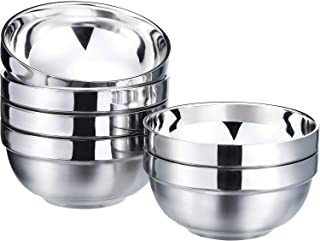 SATINIOR 6 Pack 13 OZ Stainless Steel Bowl Set Double-walled Insulated Metal Snack Bowls (Smooth)