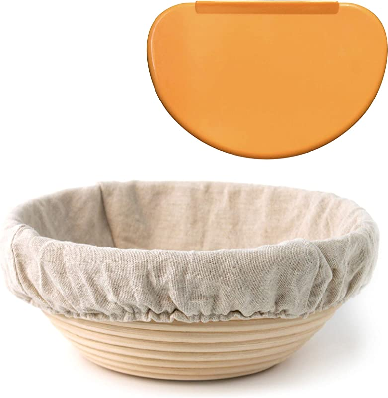 Banneton Proofing Basket 8 5 Round With Brotform Cloth Liner For Starter Rising Dough Flexible Bowl Scraper For Shaping Sourdough Loaf Artisan Bread Baking Supplies