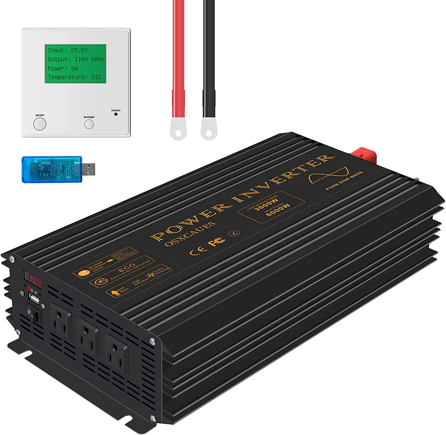 Osxcaues Pure Sine Wave 3000W Max 63% OFF Power Inverter AC 24V Japan's largest assortment 110V to R DC