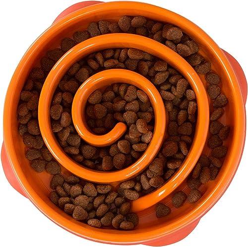Outward Hound Fun Feeder Slo-Bowl - Gamelle d'alimentation lente anti-glouton pour chien - taille M/mini - orange