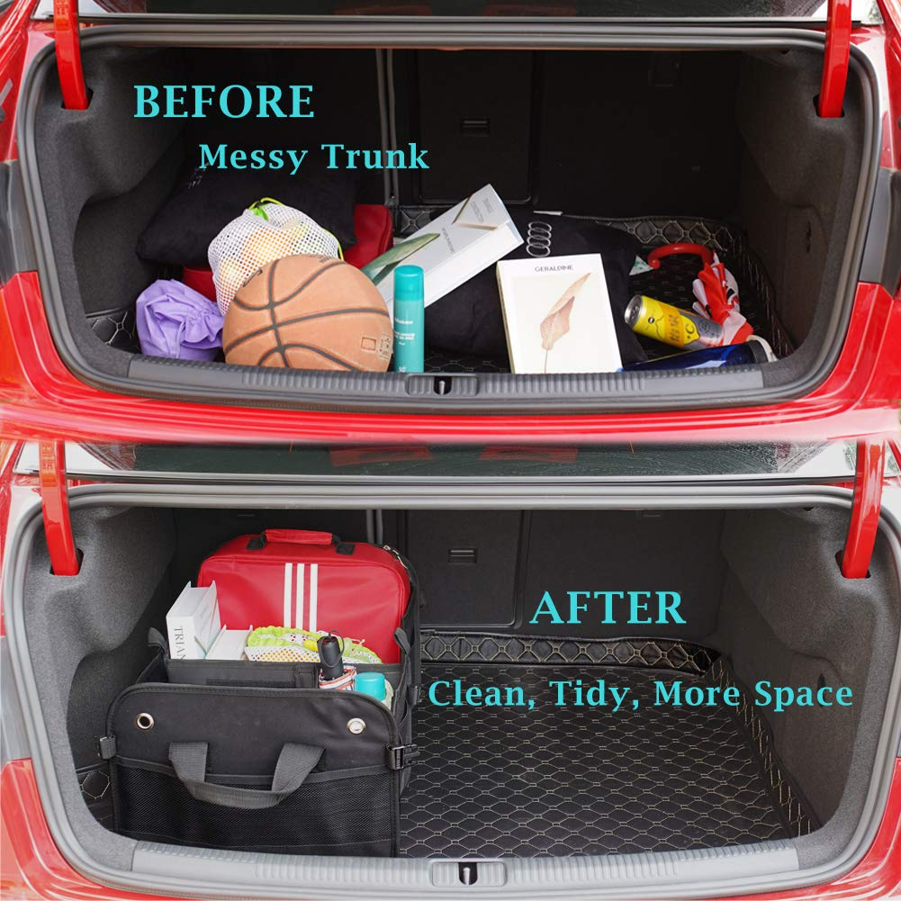 Amazon Com Car Trunk Organizer Collapsible Storage Suv Cargo Organizer With 3 Compartments Secure Straps Home Improvement