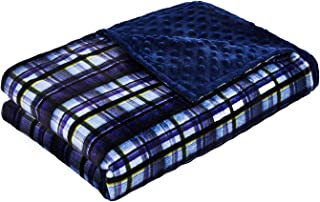 YnM Minky Duvet Cover Weighted Blankets (48''x72'') - Navy Plaid Print