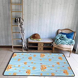 Bathroom Rug Bath Rug Animal Water Bubbles on The Surface with Seahorse and Sea Star in Waves Coast Tropical Easy to Clean W55 xL63 Orange Blue