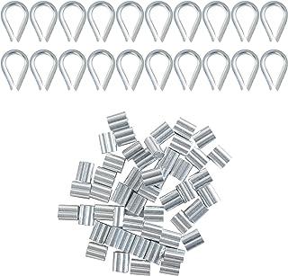 20 Stks Wire Rope Thimble Set & 50 Stks Aluminium Krimplus Mouw Clips met Dubbele Hulzen Rvs Draad Touw Klem Kabelklem Kri...