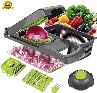 Cortador de verduras ENUOSUMA 8 en 1 mandolina de patata, cuchillas de acero inoxidable, cortador de frutas y verduras, cortador de cebolla y queso, herramientas de cocina multifunción para alimentos