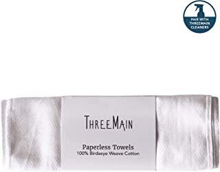 ThreeMain Paperless Towels - Paper Towel Alternative, Reusable, Machine Washable, Ultra Absorbent, 100% Birdseye Weave Cotton - 5 Pack