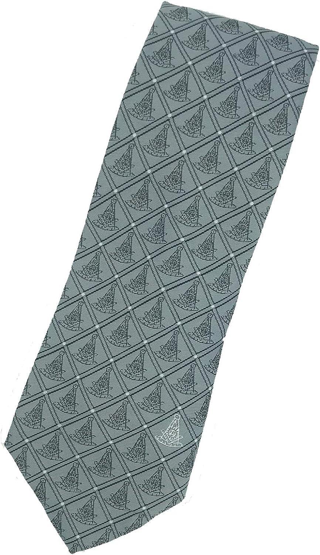 Masonic Past Master Woven Necktie - Gray